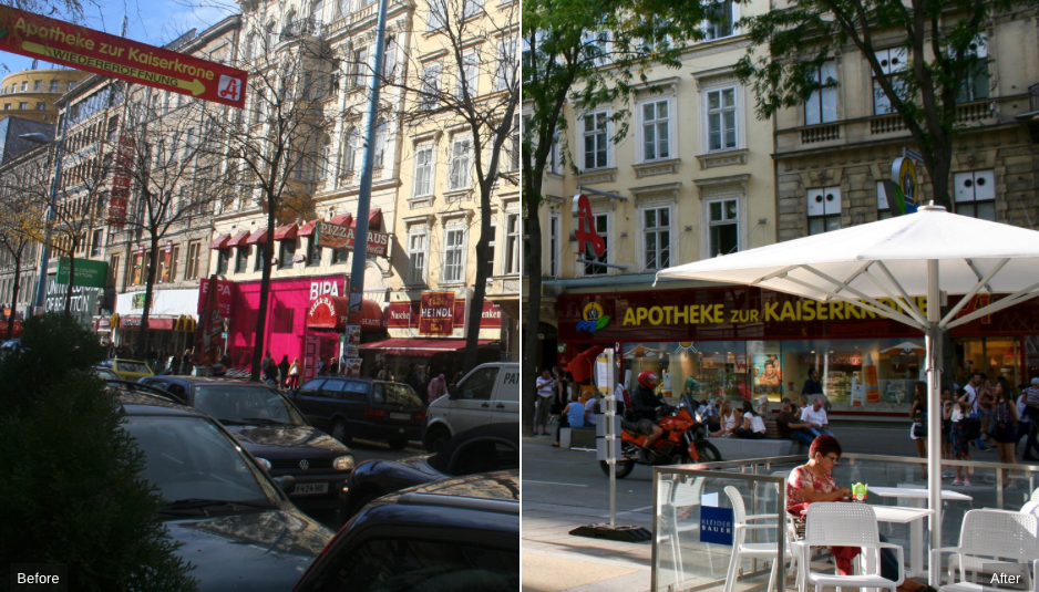 Transforming a street: Before-After images of Vienna's Mariahilferstrasse